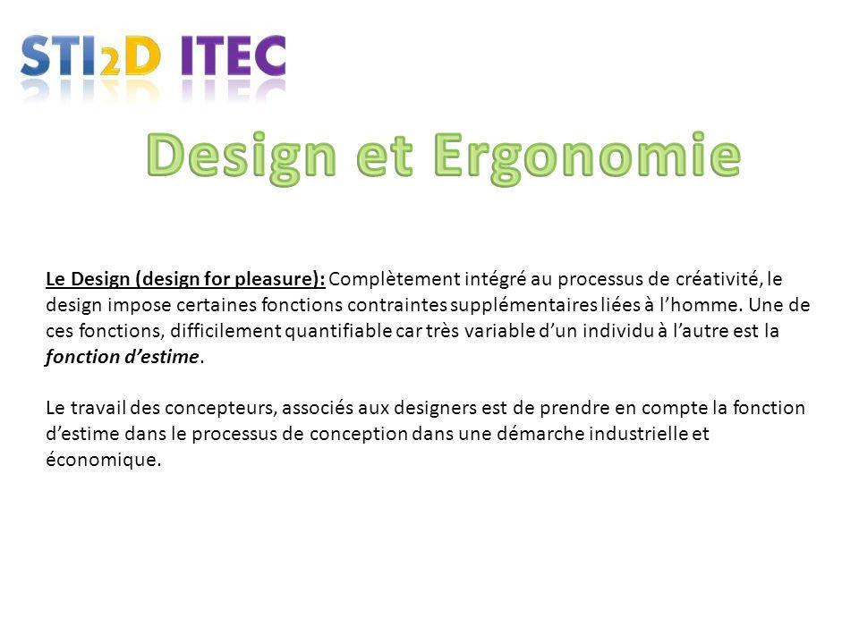 Le Design (design for pleasure): Complètement intégré au processus de créativité, le design impose certaines fonctions contraintes supplémentaires lié