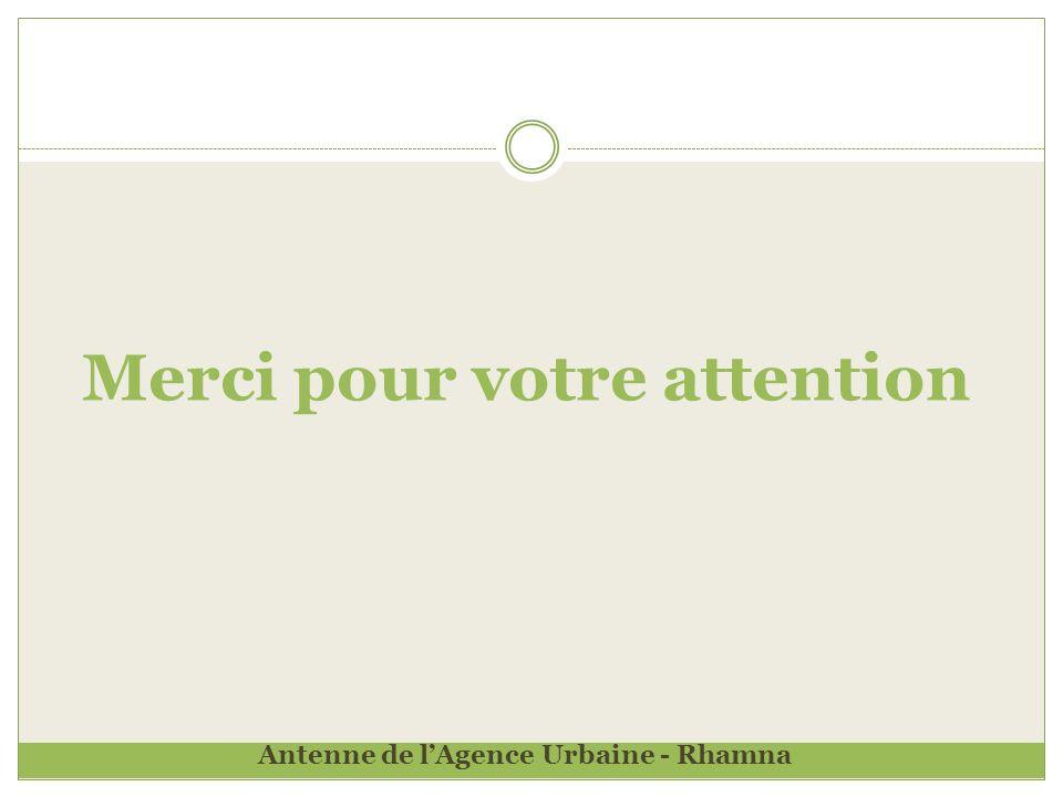Merci pour votre attention Antenne de lAgence Urbaine - Rhamna