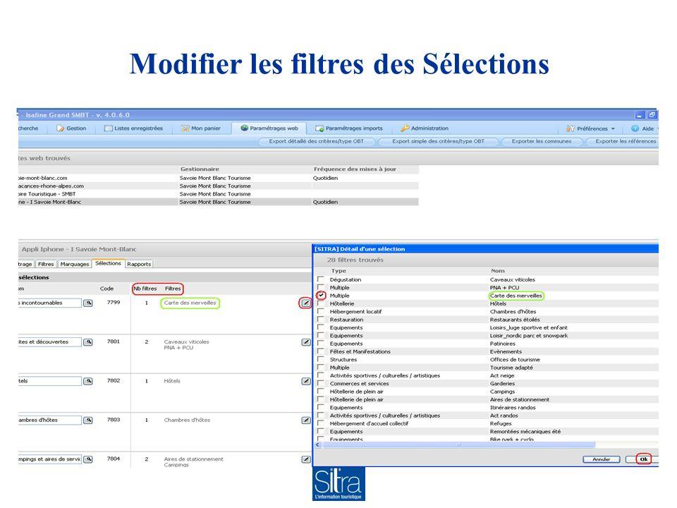 Modifier les filtres des Sélections