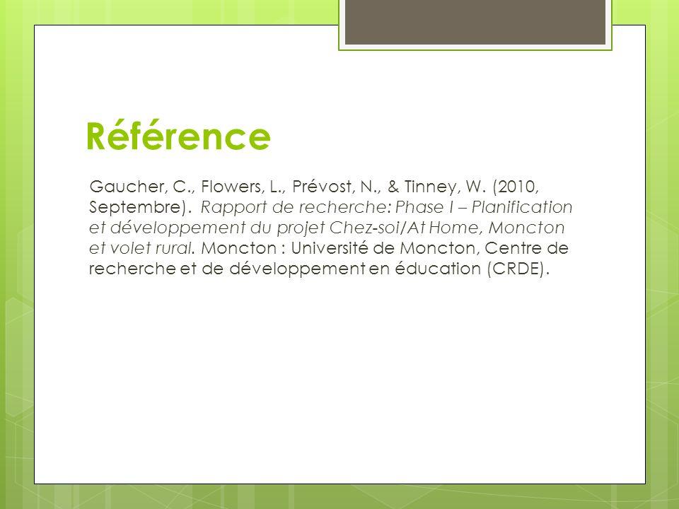 Référence Gaucher, C., Flowers, L., Prévost, N., & Tinney, W. (2010, Septembre). Rapport de recherche: Phase I – Planification et développement du pro