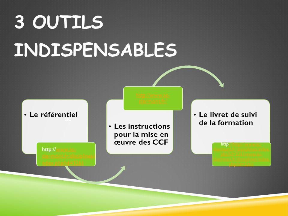 3 OUTILS INDISPENSABLES ac Le référentiel Les instructions pour la mise en œuvre des CCF http://www.ac- clermont.fr/ Le livret de suivi de la formatio