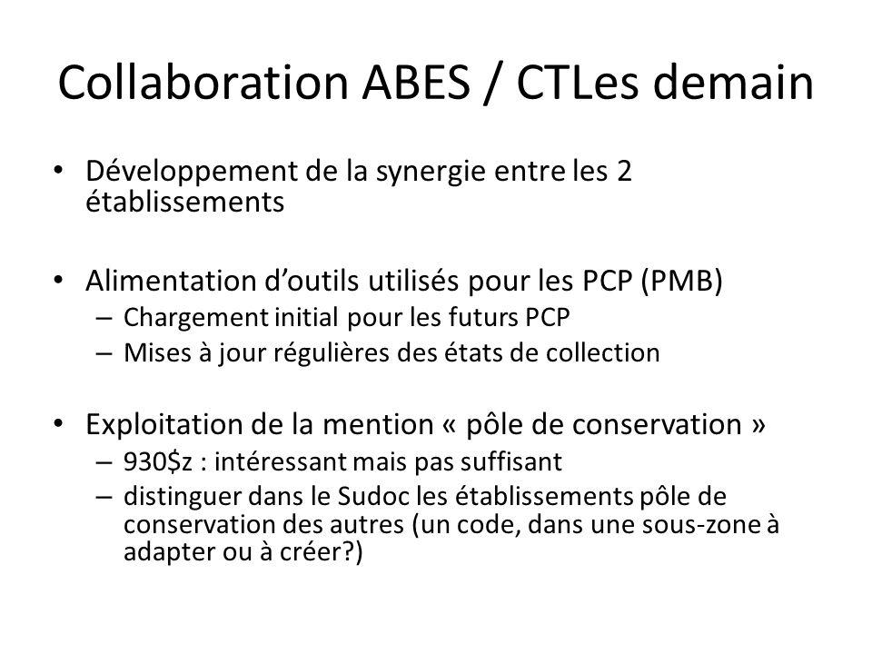 Pistes de collaboration ABES-CTLes / Etablissements Vos suggestions dévolution des applications Une boîte à outils PCP sur le site de lABES