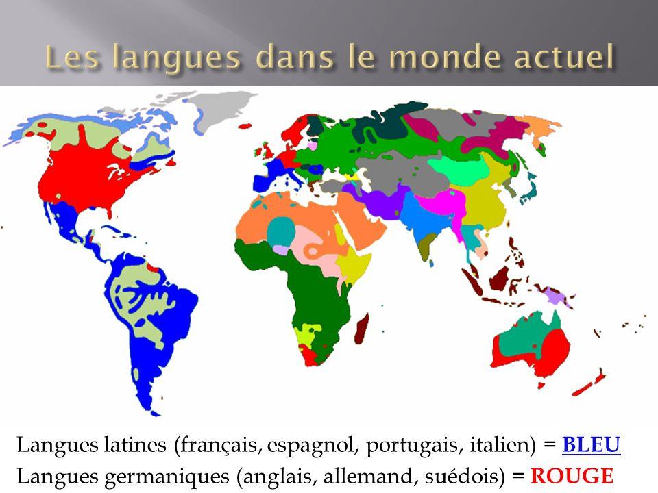 Langues latines (français, espagnol, portugais, italien) = BLEU Langues germaniques (anglais, allemand, suédois) = ROUGE