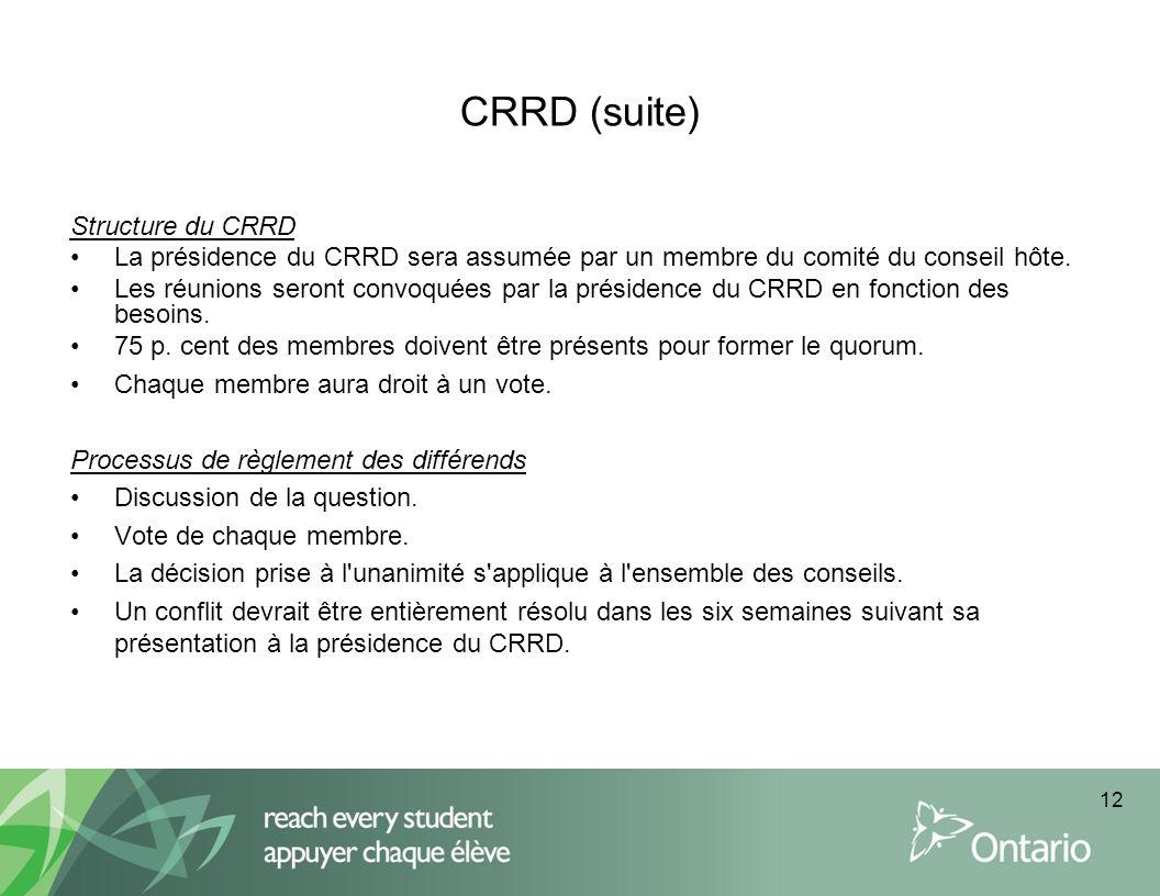 CRRD (suite) Structure du CRRD La présidence du CRRD sera assumée par un membre du comité du conseil hôte. Les réunions seront convoquées par la prési