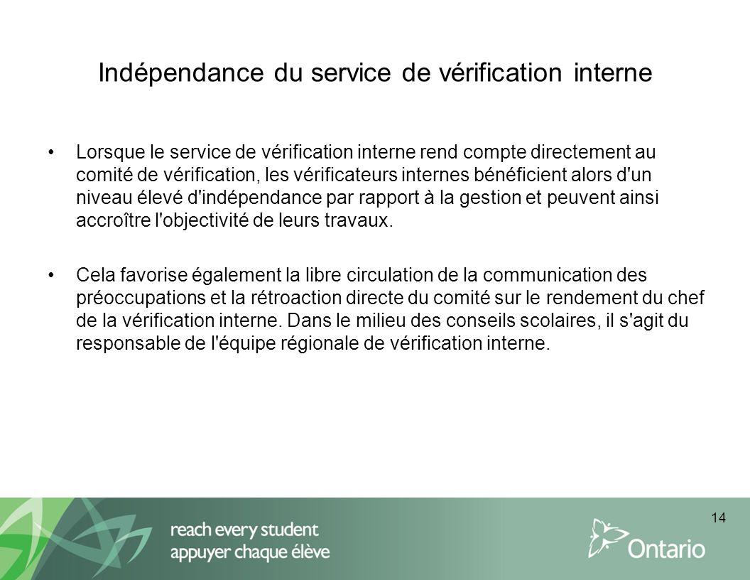 Indépendance du service de vérification interne Lorsque le service de vérification interne rend compte directement au comité de vérification, les véri