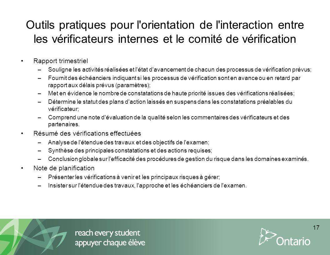 Outils pratiques pour l'orientation de l'interaction entre les vérificateurs internes et le comité de vérification Rapport trimestriel –Souligne les a