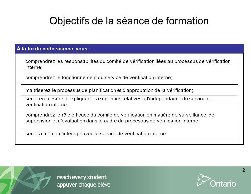 2 Objectifs de la séance de formation À la fin de cette séance, vous : comprendrez le fonctionnement du service de vérification interne; maîtriserez l