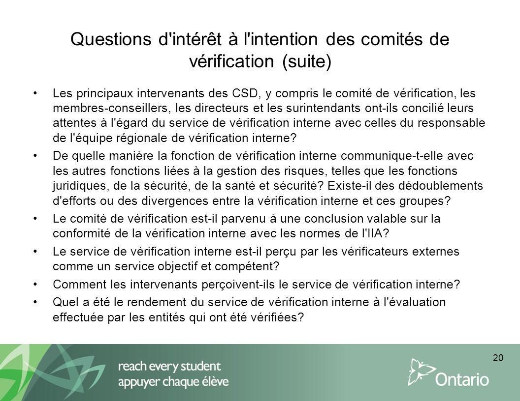 Questions d'intérêt à l'intention des comités de vérification (suite) Les principaux intervenants des CSD, y compris le comité de vérification, les me