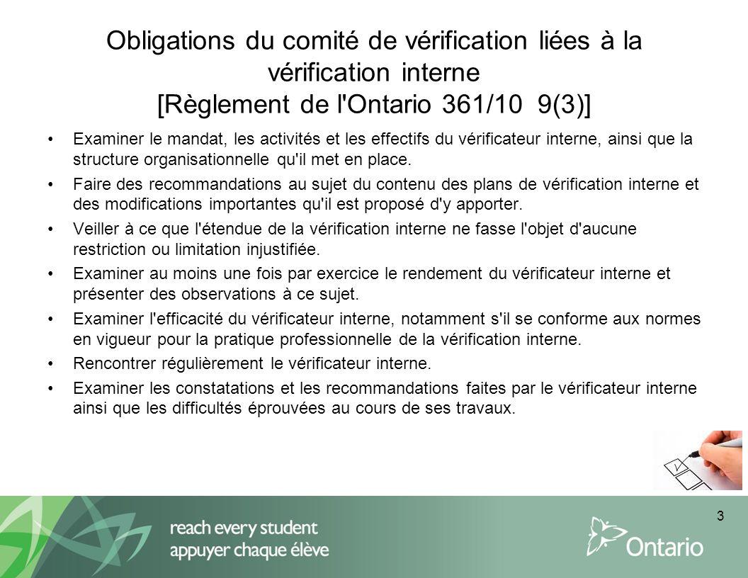 Obligations du comité de vérification liées à la vérification interne [Règlement de l'Ontario 361/10 9(3)] Examiner le mandat, les activités et les ef
