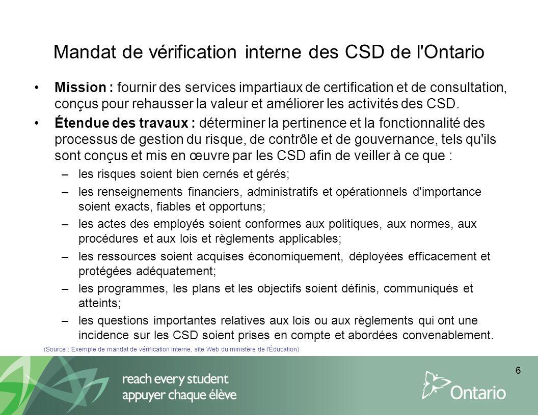 Mandat de vérification interne des CSD de l'Ontario Mission : fournir des services impartiaux de certification et de consultation, conçus pour rehauss