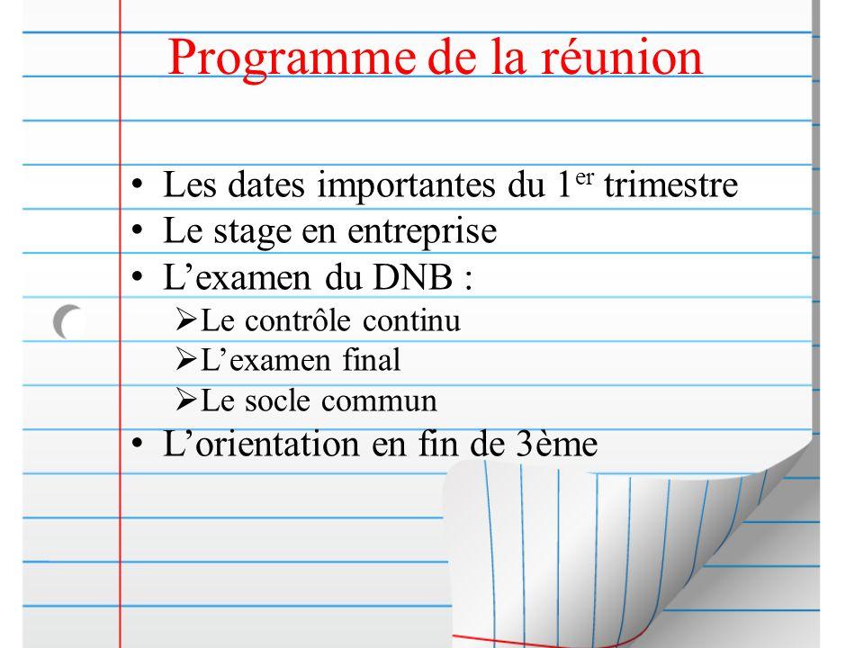 Programme de la réunion Les dates importantes du 1 er trimestre Le stage en entreprise Lexamen du DNB : Le contrôle continu Lexamen final Le socle com