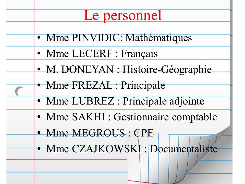 Le personnel Mme PINVIDIC: Mathématiques Mme LECERF : Français M. DONEYAN : Histoire-Géographie Mme FREZAL : Principale Mme LUBREZ : Principale adjoin