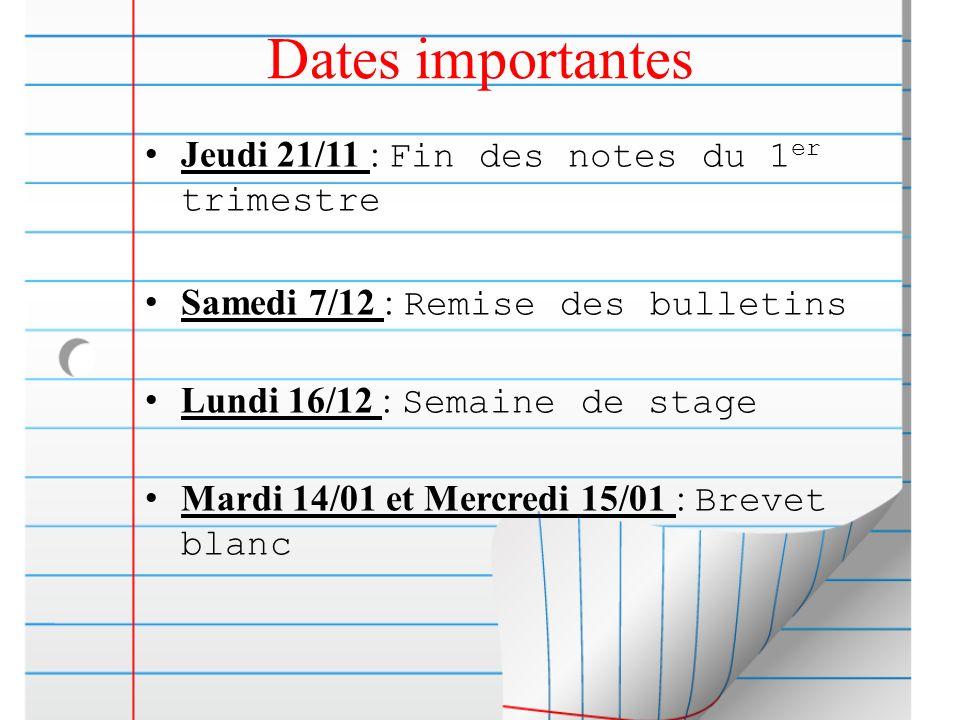 Dates importantes Jeudi 21/11 : Fin des notes du 1 er trimestre Samedi 7/12 : Remise des bulletins Lundi 16/12 : Semaine de stage Mardi 14/01 et Mercr