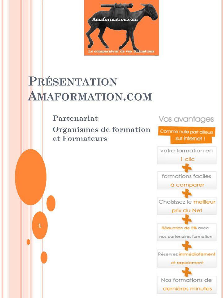 Amaformation.com Le comparateur de vos formations P RÉSENTATION A MAFORMATION. COM Partenariat Organismes de formation et Formateurs 1
