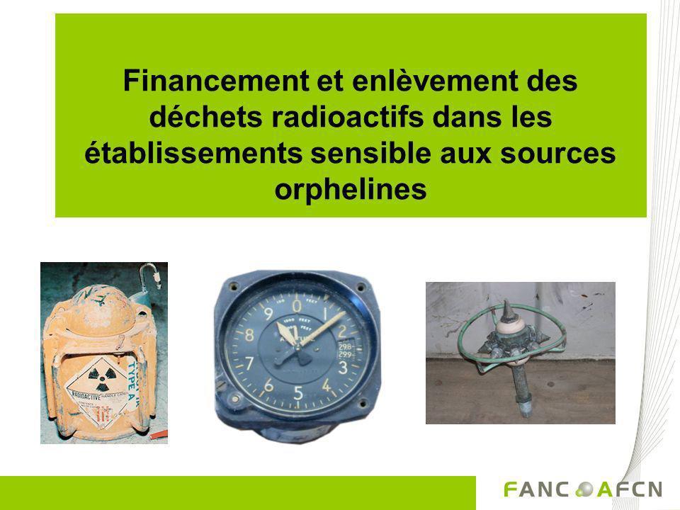 Financement et enlèvement des déchets radioactifs dans les établissements sensible aux sources orphelines