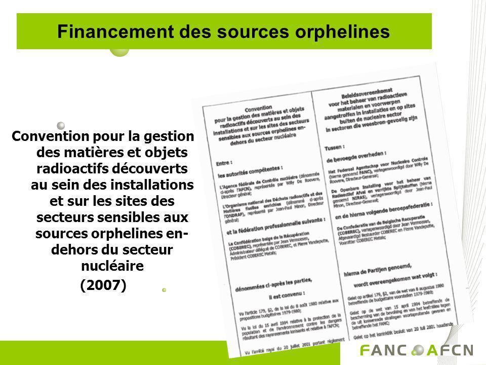 Financement des sources orphelines Convention pour la gestion des matières et objets radioactifs découverts au sein des installations et sur les sites