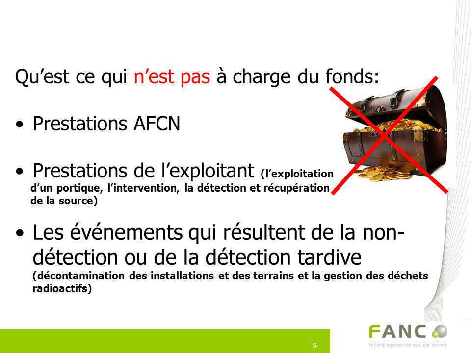 5 Quest ce qui nest pas à charge du fonds: Prestations AFCN Prestations de lexploitant (lexploitation dun portique, lintervention, la détection et réc