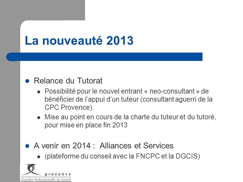 La nouveauté 2013 Relance du Tutorat Possibilité pour le nouvel entrant « neo-consultant » de bénéficier de lappui dun tuteur (consultant aguerri de l