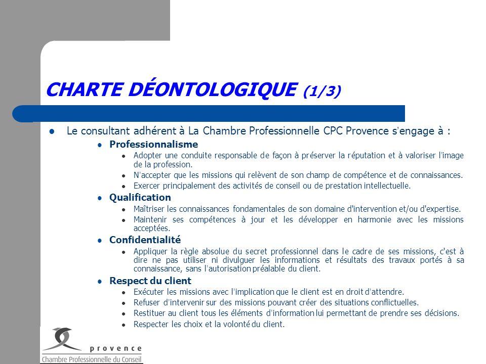 CHARTE DÉONTOLOGIQUE (1/3) Le consultant adhérent à La Chambre Professionnelle CPC Provence s engage à : Professionnalisme Adopter une conduite respon