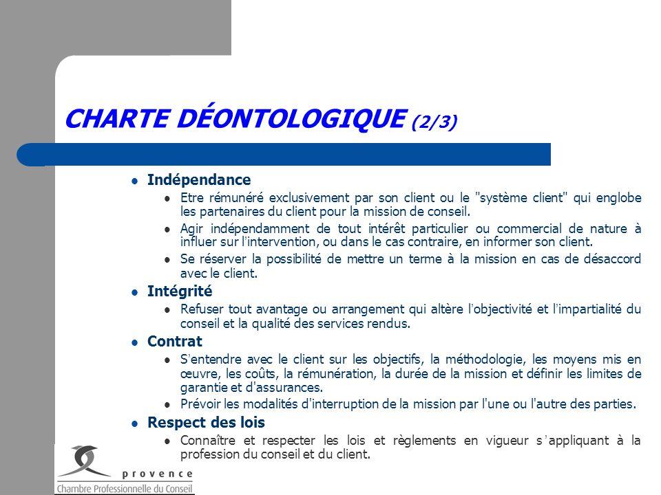 CHARTE DÉONTOLOGIQUE (2/3) Indépendance Etre rémunéré exclusivement par son client ou le