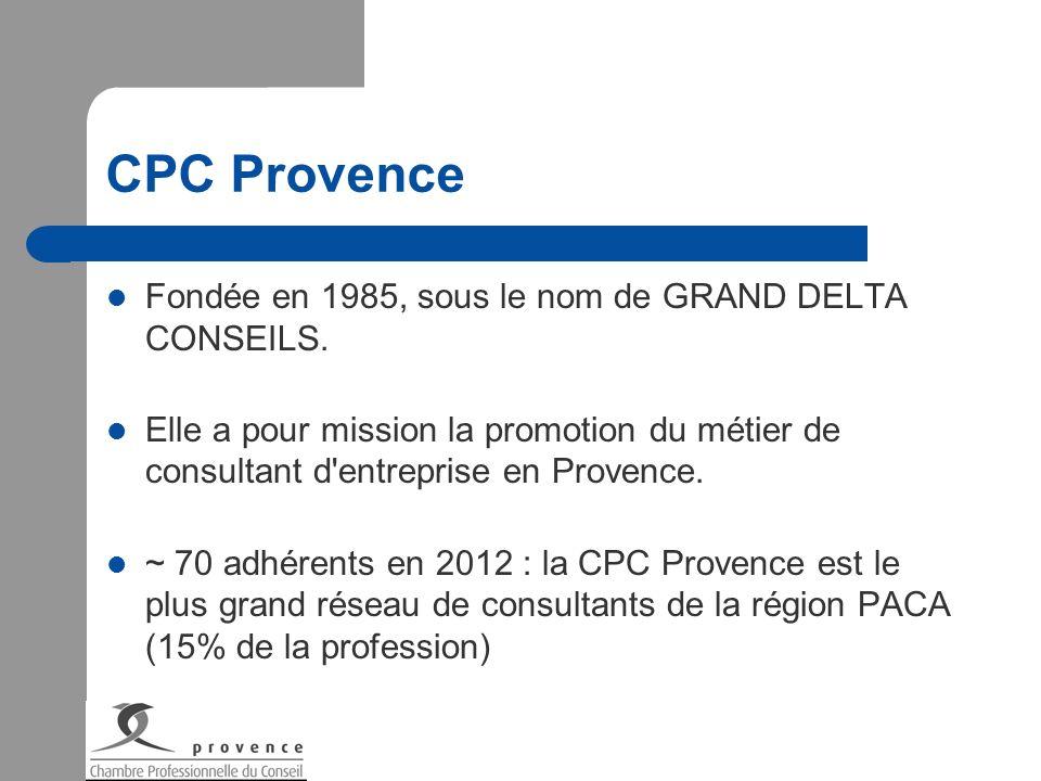 CPC Provence Fondée en 1985, sous le nom de GRAND DELTA CONSEILS. Elle a pour mission la promotion du métier de consultant d'entreprise en Provence. ~