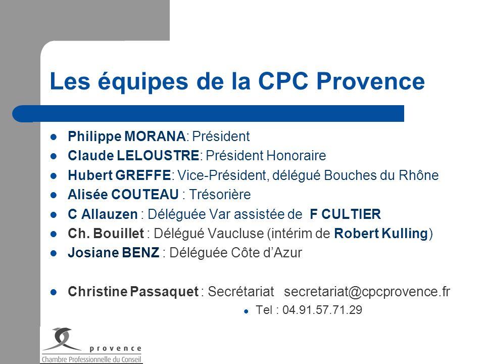 Les équipes de la CPC Provence Philippe MORANA: Président Claude LELOUSTRE: Président Honoraire Hubert GREFFE: Vice-Président, délégué Bouches du Rhôn