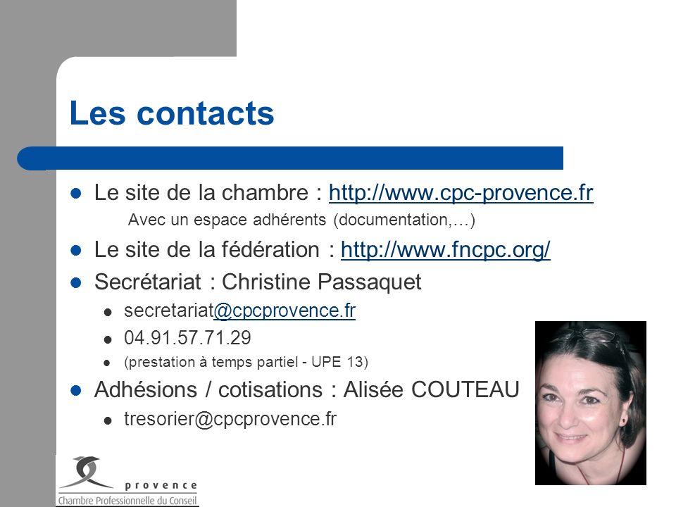 Les contacts Le site de la chambre : http://www.cpc-provence.frhttp://www.cpc-provence.fr Avec un espace adhérents (documentation,…) Le site de la féd