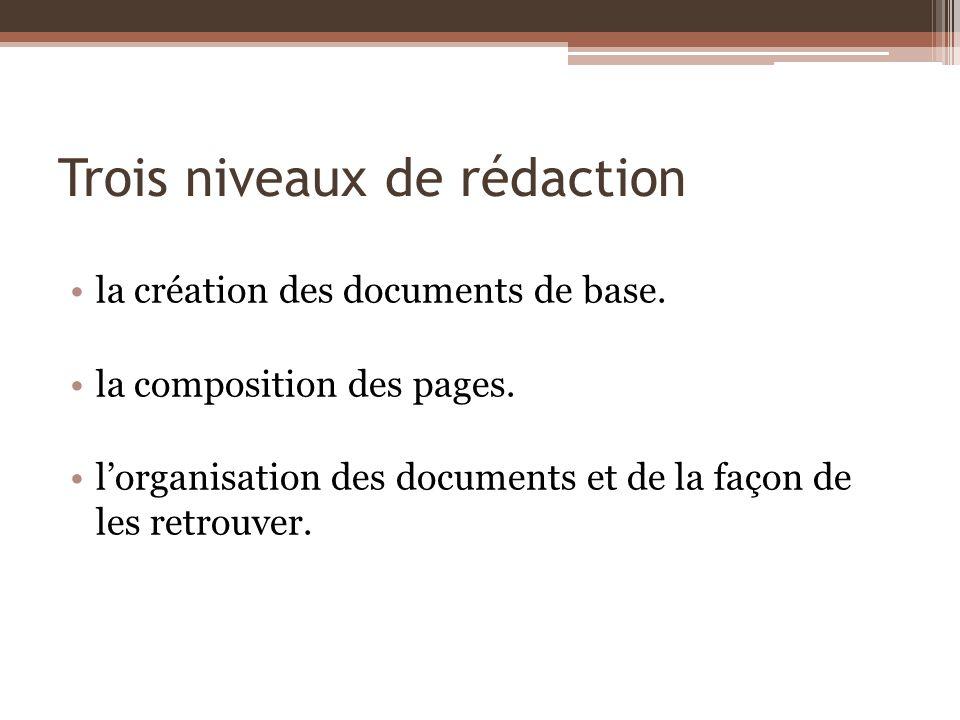 Trois niveaux de rédaction la création des documents de base. la composition des pages. lorganisation des documents et de la façon de les retrouver.