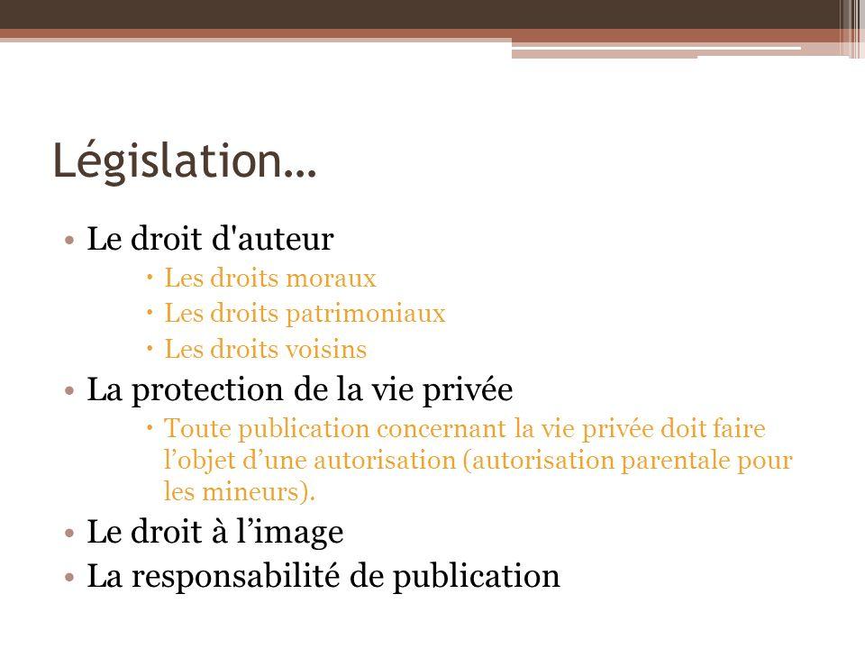 Législation… Le droit d'auteur Les droits moraux Les droits patrimoniaux Les droits voisins La protection de la vie privée Toute publication concernan