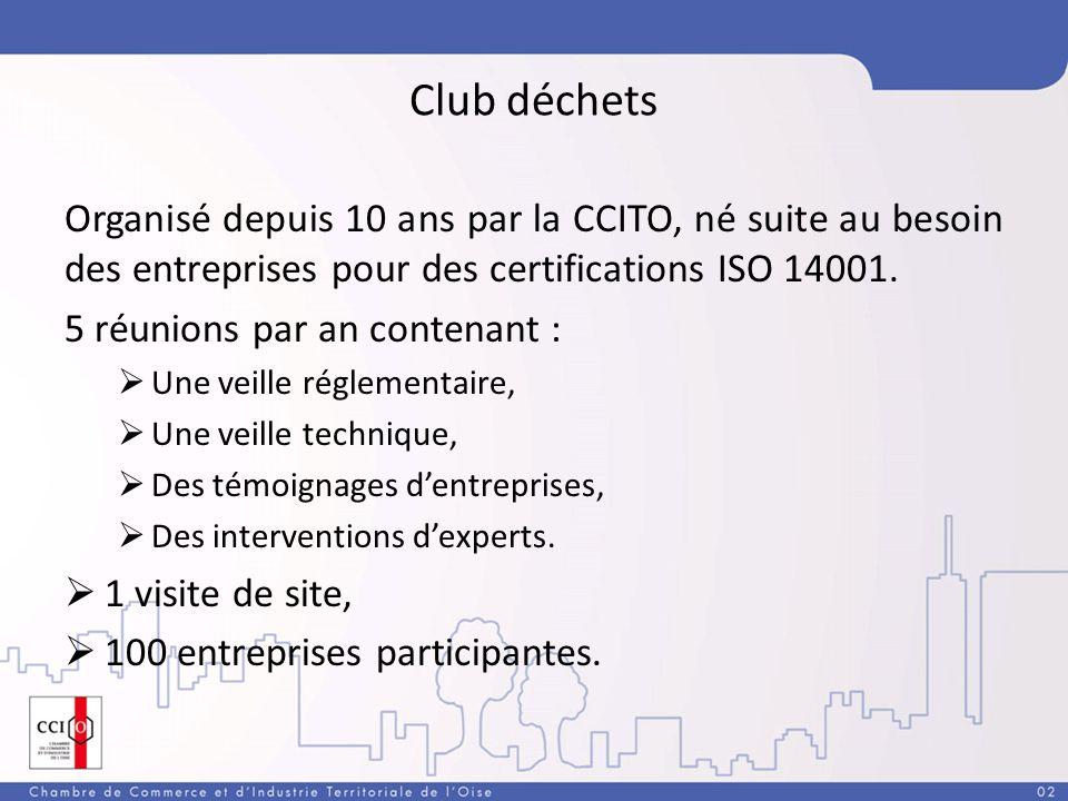 Club déchets Organisé depuis 10 ans par la CCITO, né suite au besoin des entreprises pour des certifications ISO 14001.