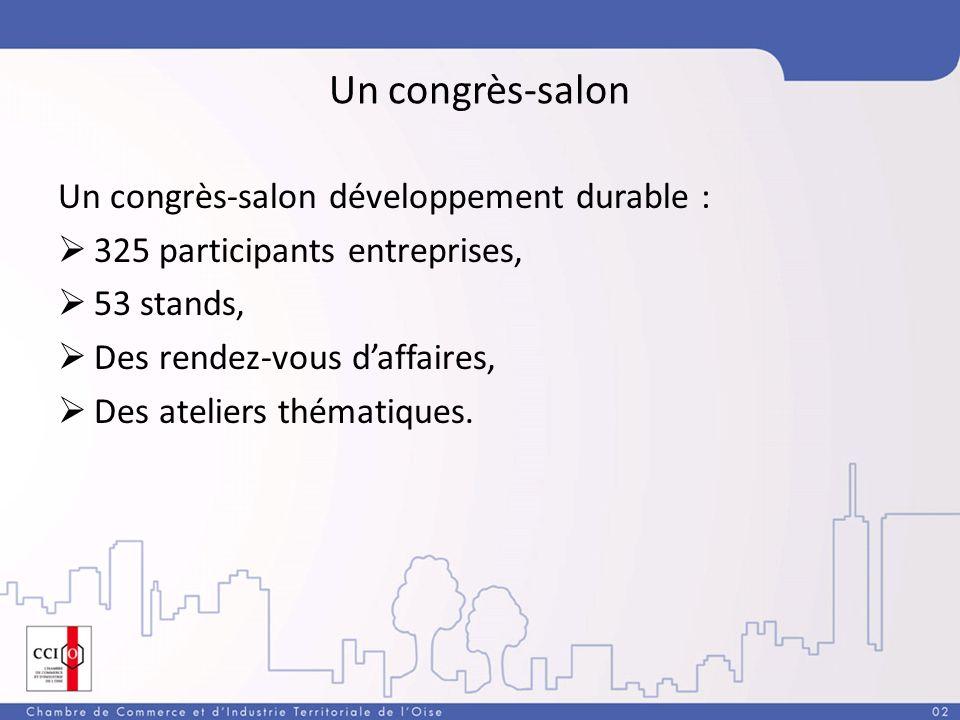Un congrès-salon Un congrès-salon développement durable : 325 participants entreprises, 53 stands, Des rendez-vous daffaires, Des ateliers thématiques.
