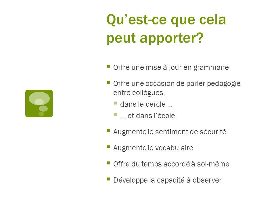 Quest-ce que cela peut apporter? Offre une mise à jour en grammaire Offre une occasion de parler pédagogie entre collègues, dans le cercle … … et dans