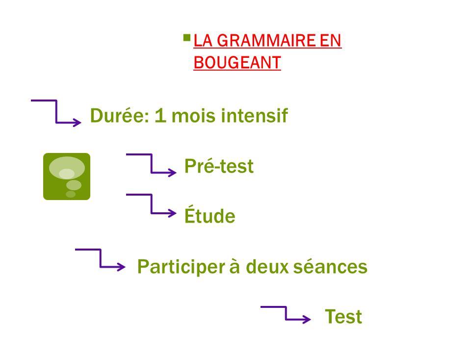 Durée: 1 mois intensif Pré-test Étude Participer à deux séances Test LA GRAMMAIRE EN BOUGEANT