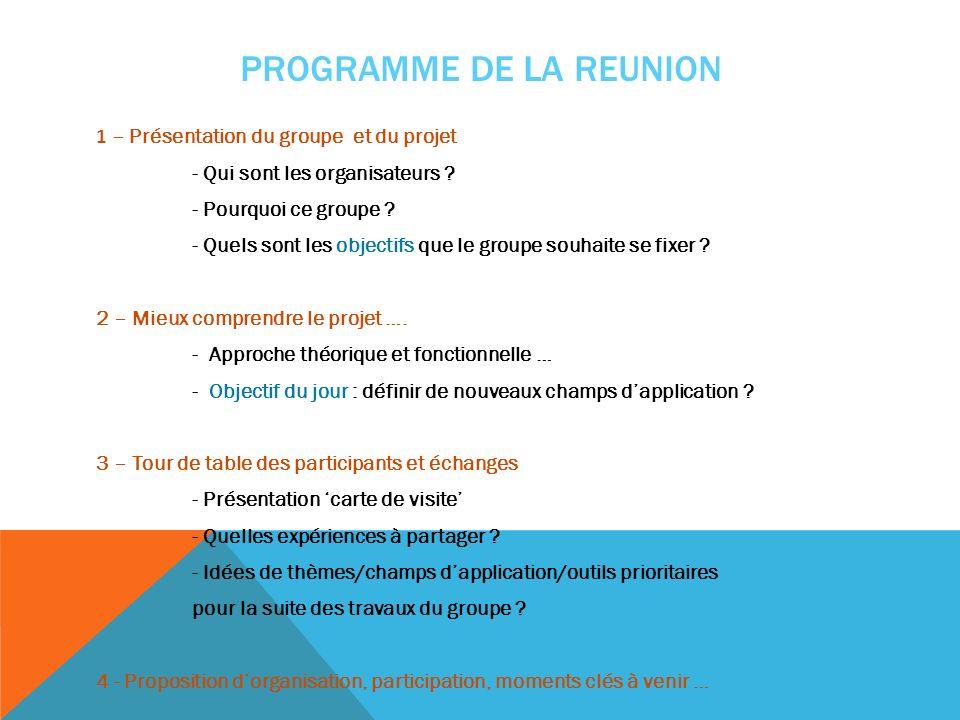 PROGRAMME DE LA REUNION 1 – Présentation du groupe et du projet - Qui sont les organisateurs ? - Pourquoi ce groupe ? - Quels sont les objectifs que l