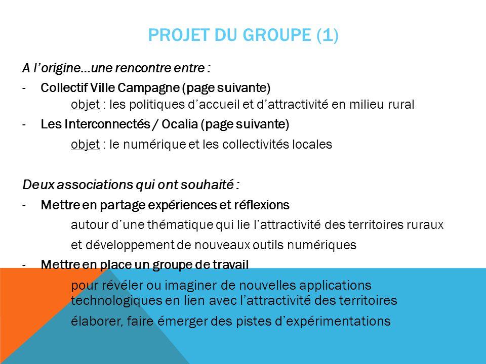PROJET DU GROUPE (1) A lorigine…une rencontre entre : -Collectif Ville Campagne (page suivante) objet : les politiques daccueil et dattractivité en mi
