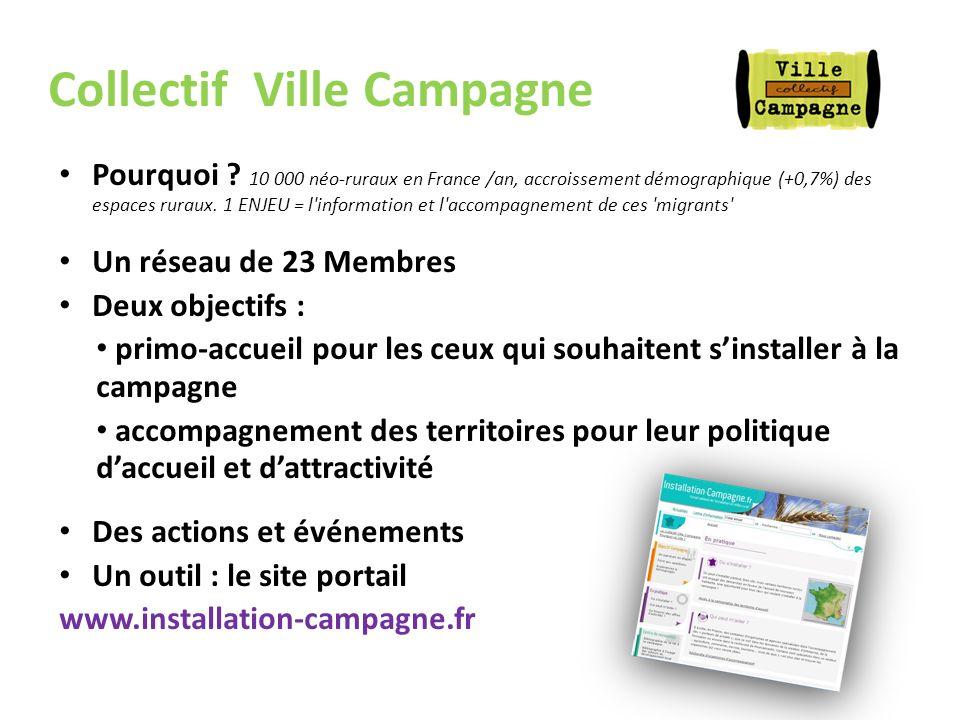 Collectif Ville Campagne Pourquoi ? 10 000 néo-ruraux en France /an, accroissement démographique (+0,7%) des espaces ruraux. 1 ENJEU = l'information e
