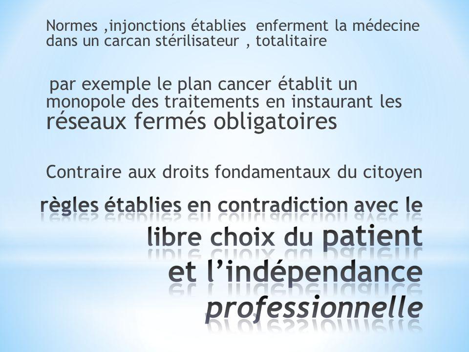 Normes,injonctions établies enferment la médecine dans un carcan stérilisateur, totalitaire par exemple le plan cancer établit un monopole des traitements en instaurant les réseaux fermés obligatoires Contraire aux droits fondamentaux du citoyen