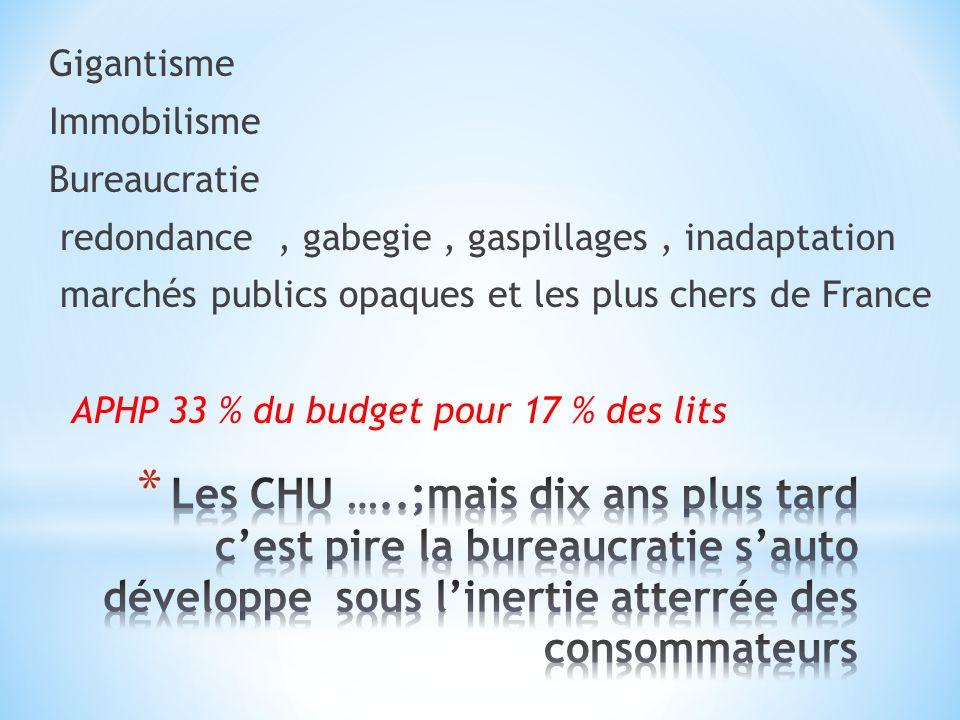 Gigantisme Immobilisme Bureaucratie redondance, gabegie, gaspillages, inadaptation marchés publics opaques et les plus chers de France APHP 33 % du budget pour 17 % des lits