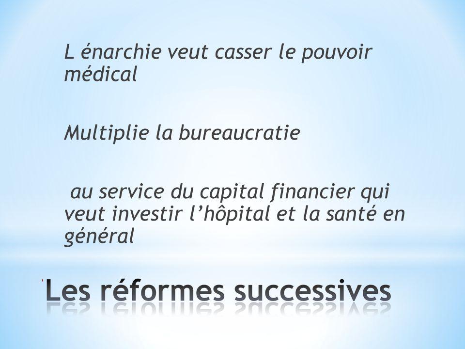 L énarchie veut casser le pouvoir médical Multiplie la bureaucratie au service du capital financier qui veut investir lhôpital et la santé en général