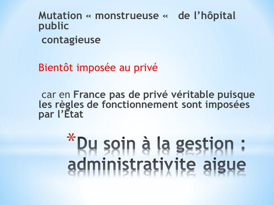 Mutation « monstrueuse « de lhôpital public contagieuse Bientôt imposée au privé car en France pas de privé véritable puisque les règles de fonctionnement sont imposées par lEtat