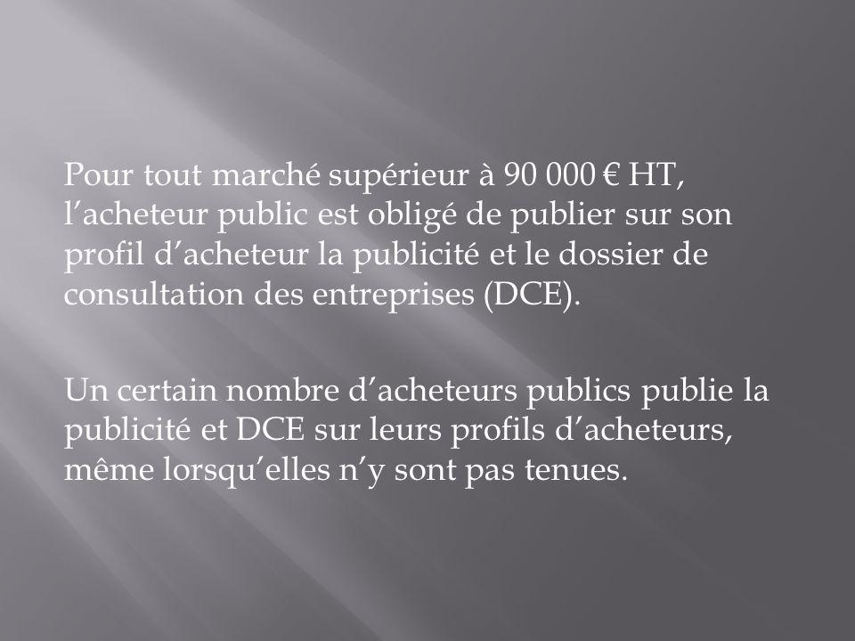 Pour tout marché supérieur à 90 000 HT, lacheteur public est obligé de publier sur son profil dacheteur la publicité et le dossier de consultation des