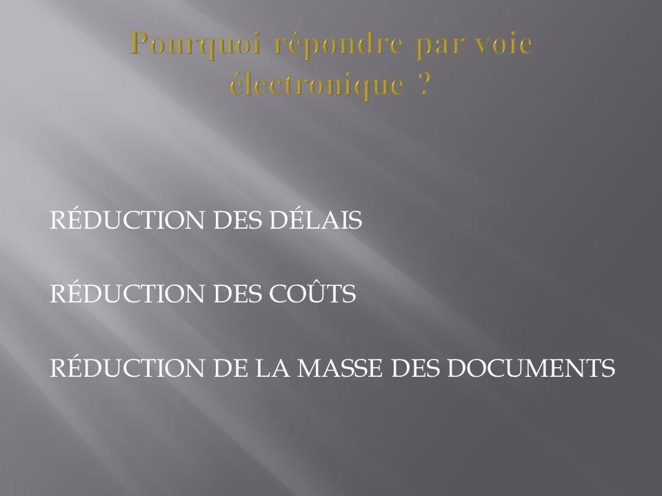 RÉDUCTION DES DÉLAIS RÉDUCTION DES COÛTS RÉDUCTION DE LA MASSE DES DOCUMENTS