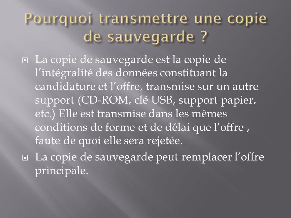 La copie de sauvegarde est la copie de lintégralité des données constituant la candidature et loffre, transmise sur un autre support (CD-ROM, clé USB,