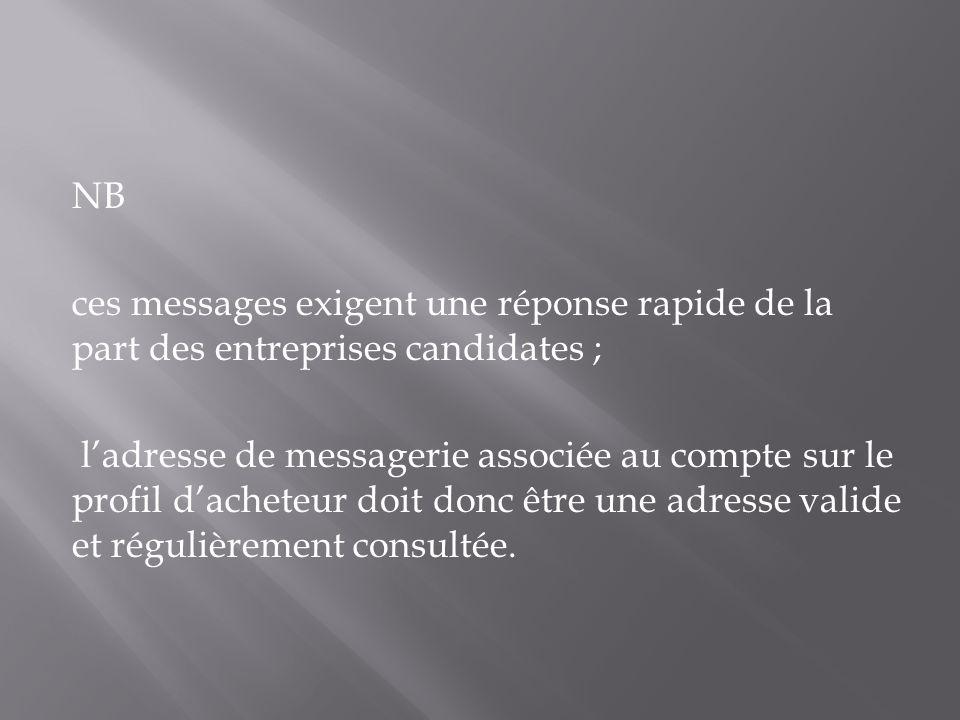NB ces messages exigent une réponse rapide de la part des entreprises candidates ; ladresse de messagerie associée au compte sur le profil dacheteur d
