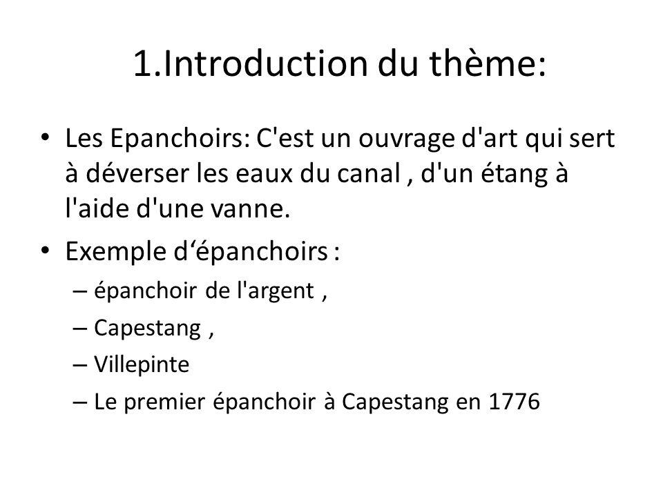 1.Introduction du thème: Les Epanchoirs: C'est un ouvrage d'art qui sert à déverser les eaux du canal, d'un étang à l'aide d'une vanne. Exemple dépanc