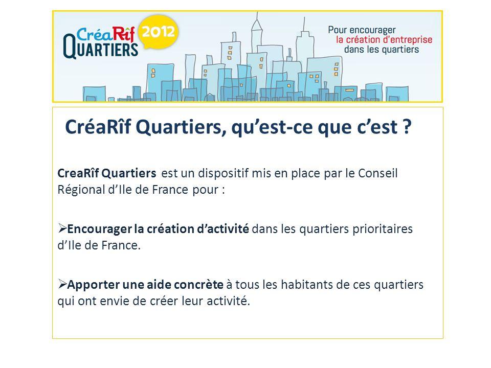 CreaRîf Quartiers est un dispositif mis en place par le Conseil Régional dIle de France pour : Encourager la création dactivité dans les quartiers prioritaires dIle de France.