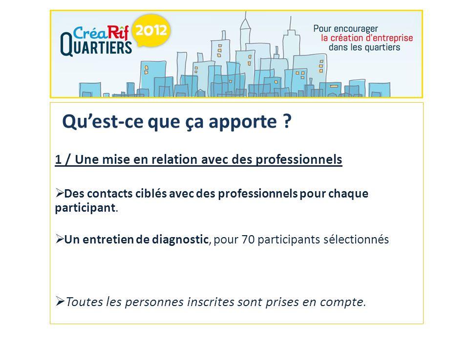 2/ Une invitation à la Journée CréaRîf Quartiers Tous les participants seront invités à la Journée CréaRîf Quartiers, le 11 décembre 2012, à Paris.