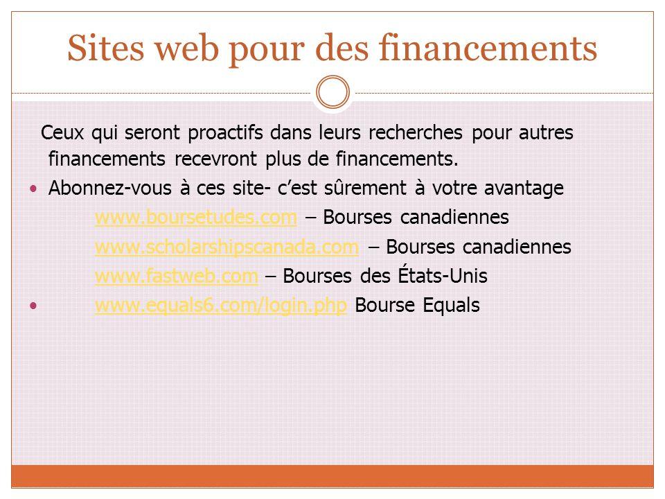 Sites web pour des financements Ceux qui seront proactifs dans leurs recherches pour autres financements recevront plus de financements. Abonnez-vous