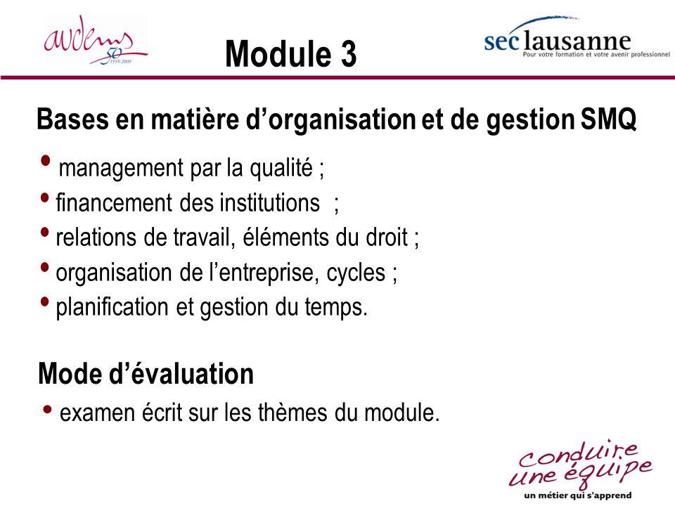 Module 3 management par la qualité ; financement des institutions ; relations de travail, éléments du droit ; organisation de lentreprise, cycles ; pl