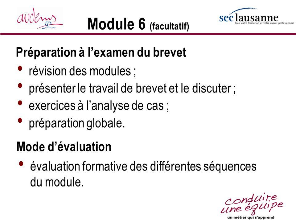 Module 6 (facultatif) révision des modules ; présenter le travail de brevet et le discuter ; exercices à lanalyse de cas ; préparation globale. Prépar